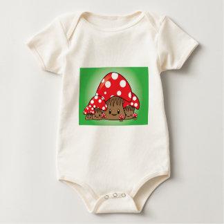 Cute Mushrooms on green background Baby Bodysuit