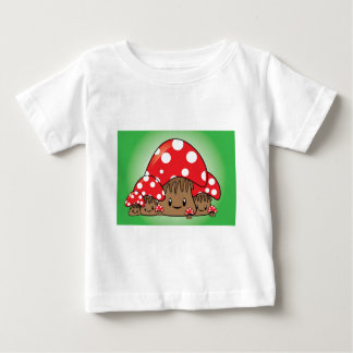 Cute Mushrooms on green background Baby T-Shirt