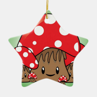 Cute Mushrooms on green background Christmas Ornament