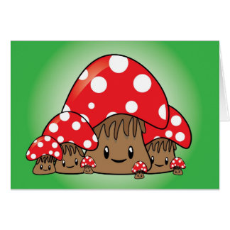 Cute Mushrooms on green background Greeting Card