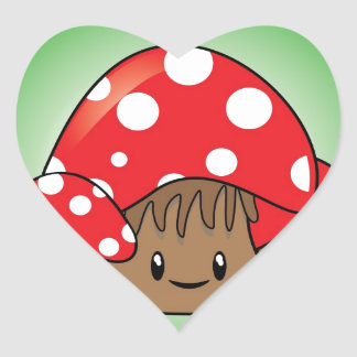 Cute Mushrooms on green background Heart Sticker