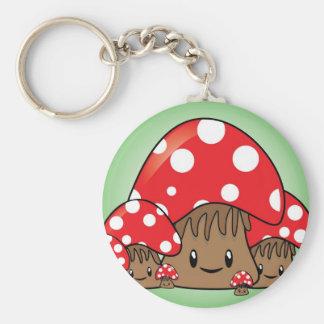 Cute Mushrooms on green background Key Ring
