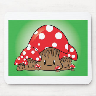 Cute Mushrooms on green background Mouse Mat