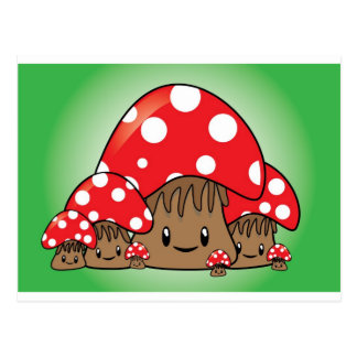Cute Mushrooms on green background Postcard