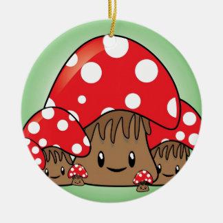 Cute Mushrooms on green background Round Ceramic Decoration