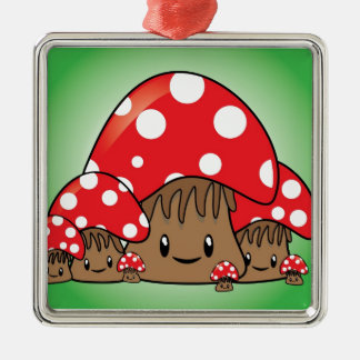 Cute Mushrooms on green background Silver-Colored Square Decoration