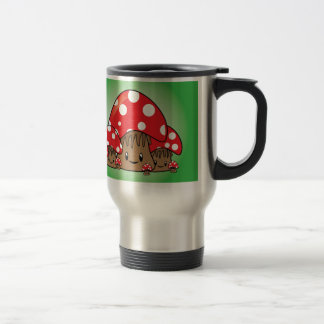 Cute Mushrooms on green background Travel Mug
