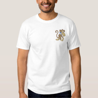 Cute Music Monkey Embroidered T-Shirt