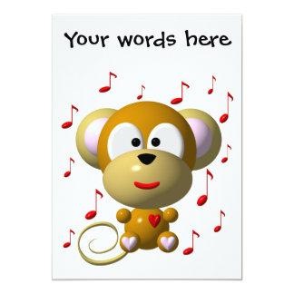Cute musical monkey 13 cm x 18 cm invitation card
