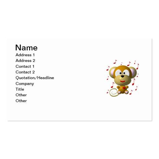 Cute musical monkey business card template
