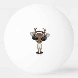 Cute Musical Reindeer Dj Wearing Headphones Ping Pong Ball