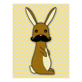 Cute Mustache Bunny Cartoon Post Card