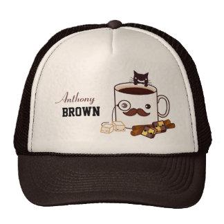 Cute mustache coffee cup and cat - Personalized Trucker Hats