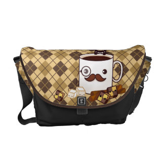 Cute mustache coffee cup on chocolate argyle messenger bag