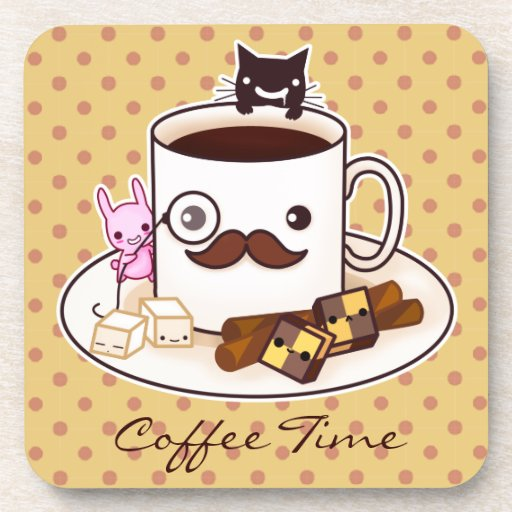 Cute mustache coffee cup with kawaii animals beverage coaster