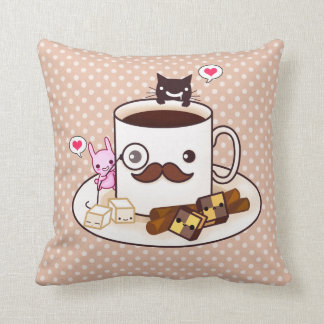 Cute mustache coffee cup with kawaii animals cushion