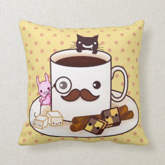 Cute mustache coffee cup with kawaii animals pillows