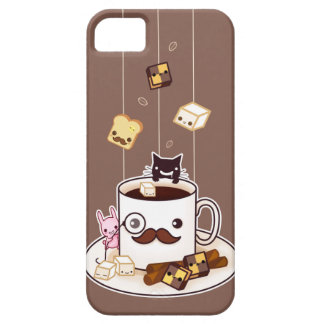 Cute mustache coffee mug with kawaii animals iPhone 5 cover
