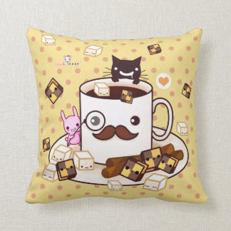 Cute mustache cup with kawaii animals and biscuits throw pillow