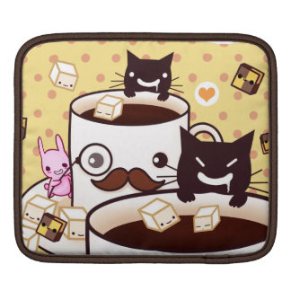 Cute mustache cup with kawaii animals and biscuits sleeve for iPads