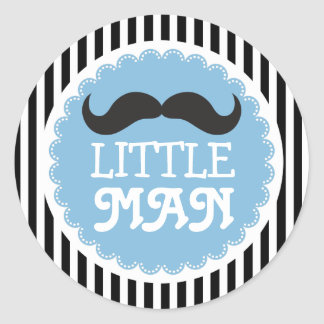 Cute Mustache Little Man Baby Shower Black Stripes Classic Round Sticker