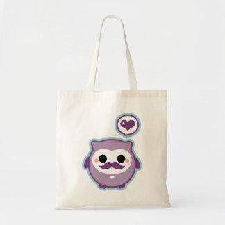 Cute Mustache Owl Tote Bags