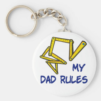 Cute My Dad Rules Basic Round Button Key Ring