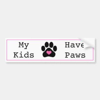 Cute My Kids Have Paws Pet Bumper Sticker