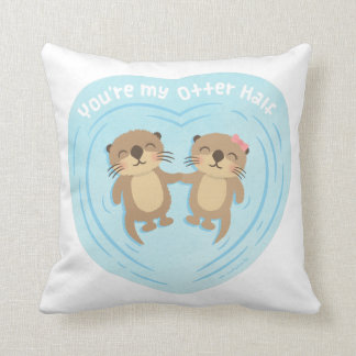 Cute My Otter Half Pun Love Humor Throw Pillow