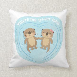 Cute My Otter Half Pun Love Humor Throw Pillow Throw Cushion