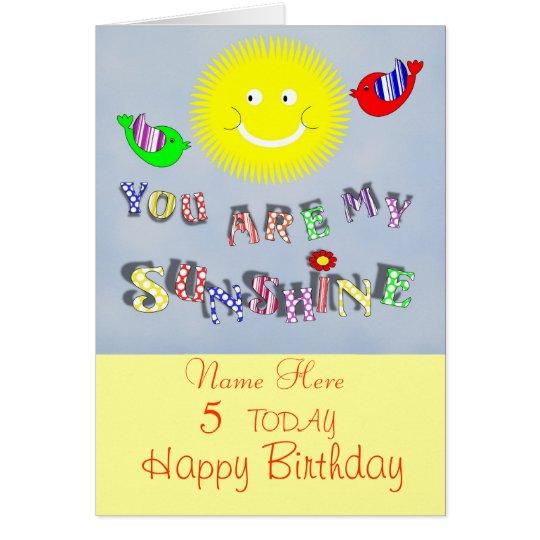 Cute My Sunshine Personalised Birthday Card