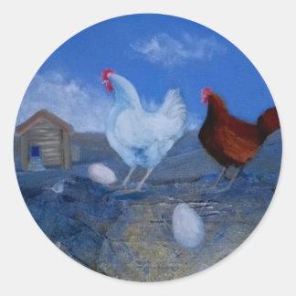 Cute Mystic Chickens Original Modern Art Custom St Round Sticker