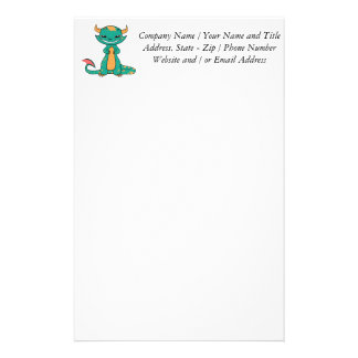Cute Mythical Dragon Smiling Stationery