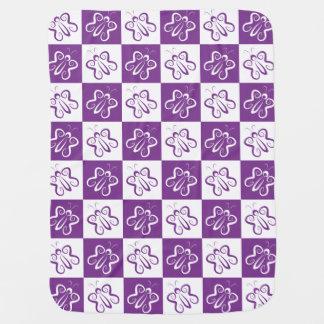 Cute 'n Curly White and Purple Butterflies Baby Blanket