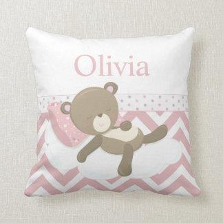 Cute Napping Teddy Bear with Custom Monogram Cushion