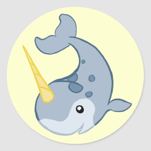 Cute narwhal round sticker zazzle - Cute narwhal wallpaper ...