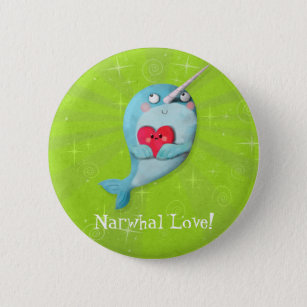 f8f1c3858fa Cute Narwhal with Heart 6 Cm Round Badge