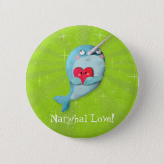Cute Narwhal with Heart 6 Cm Round Badge