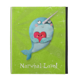 Cute Narwhal with Heart iPad Case