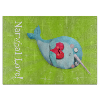 Cute Narwhal with Heart Cutting Board
