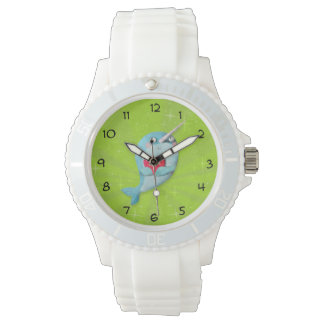 Cute Narwhal with Heart Wristwatch