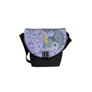 Cute Narwhal with other sea critters pattern Messenger Bag