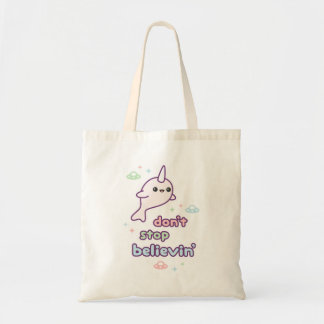 Cute Narwhal with UFOs Tote Bag