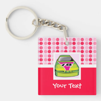 Cute Nascar Double-Sided Square Acrylic Keychain