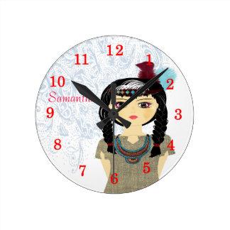 Cute Native American Indian Girl Personalized Round Clock