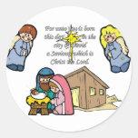 Cute Nativity Scene Classic Round Sticker