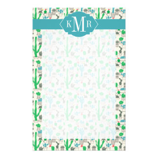 Cute Natural Floral Cacti Pattern Stationery