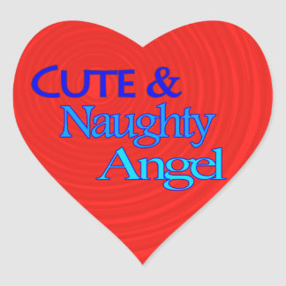 Cute Naughty Angel fun blue design Heart Sticker