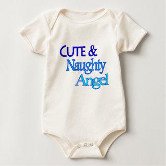 Cute Naughty Angel fun blue design Rompers