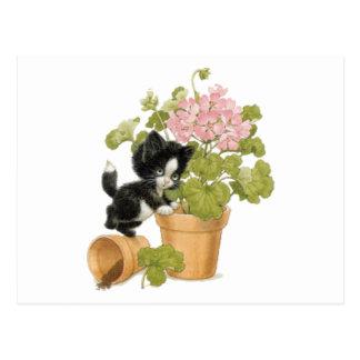 Cute Naughty Cat - Kitten In A Flowerpot Postcard